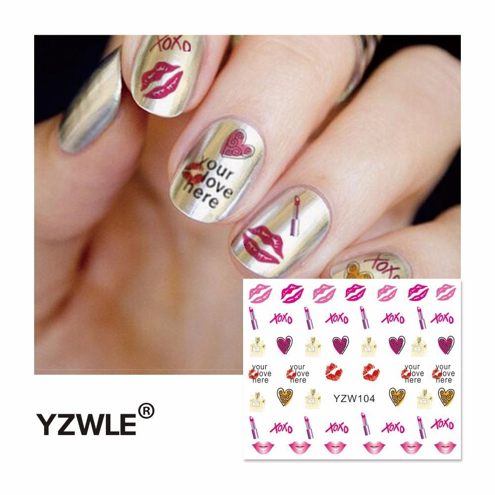 [Visit to Buy] Nail Sticker 2017 Lips Water Decal for DIY tips nails Styling Tools Nail Decorations #Advertisement