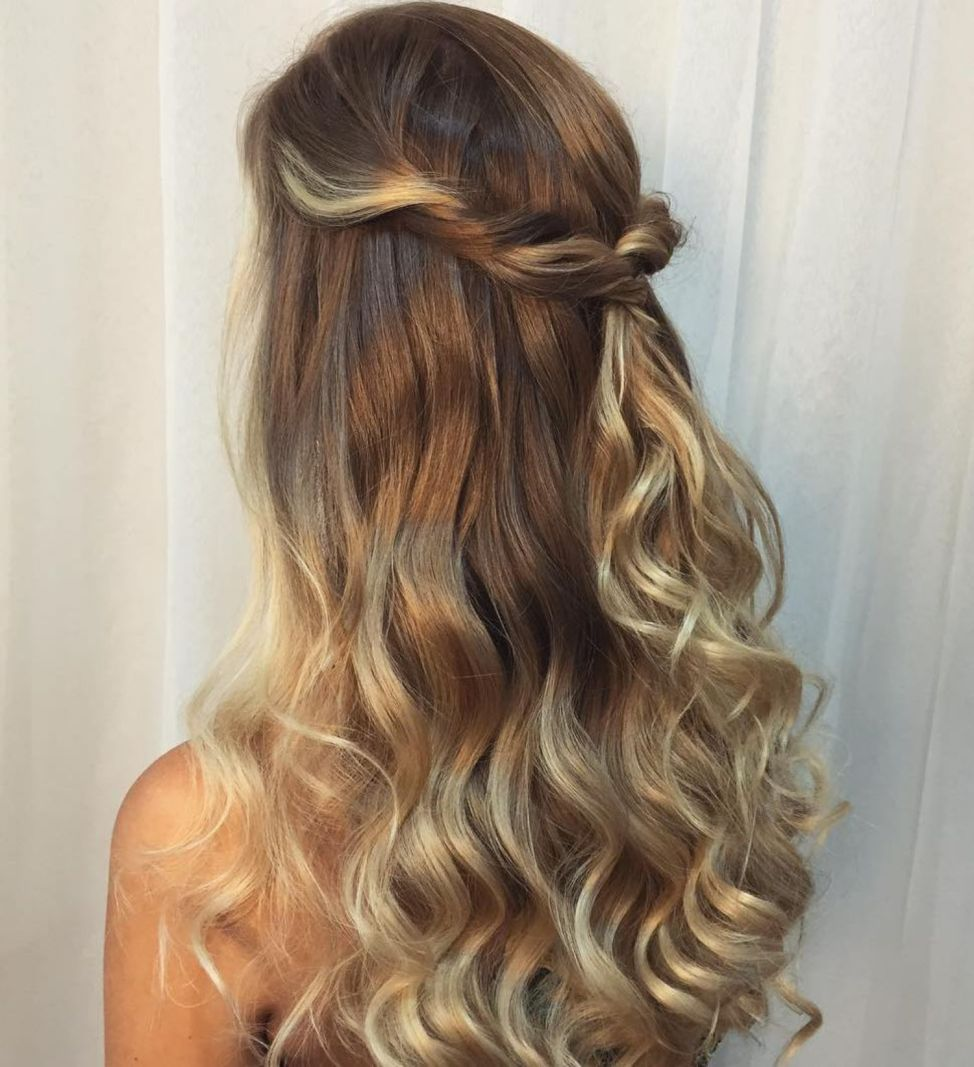 Wavy Blonde Balayage   Long hair updo, Prom hairstyles for ...