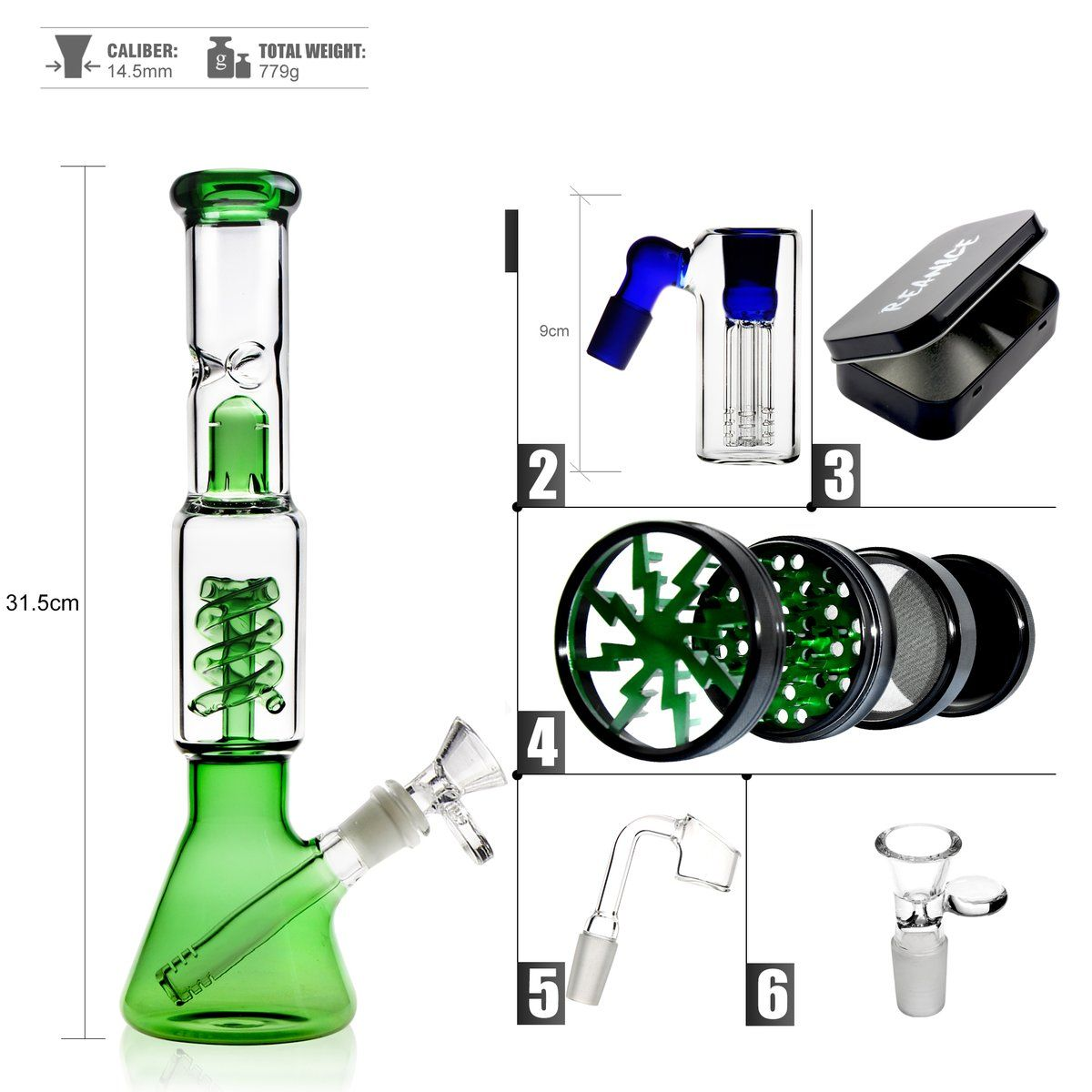 The Green is applied evenly throughout the bong to give it