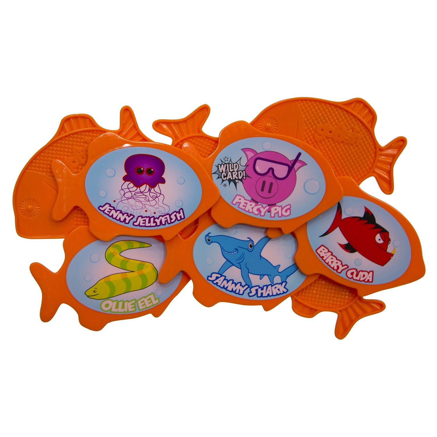 """5"""" Orange and Blue 9 Character Go Fish Swimming Pool Dive"""