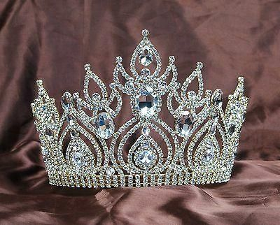 Gorgeous Large Tiaras Wedding Bridal Crowns Gold Clear Rhinestones Crystal Brides Pageant Hair Accessories