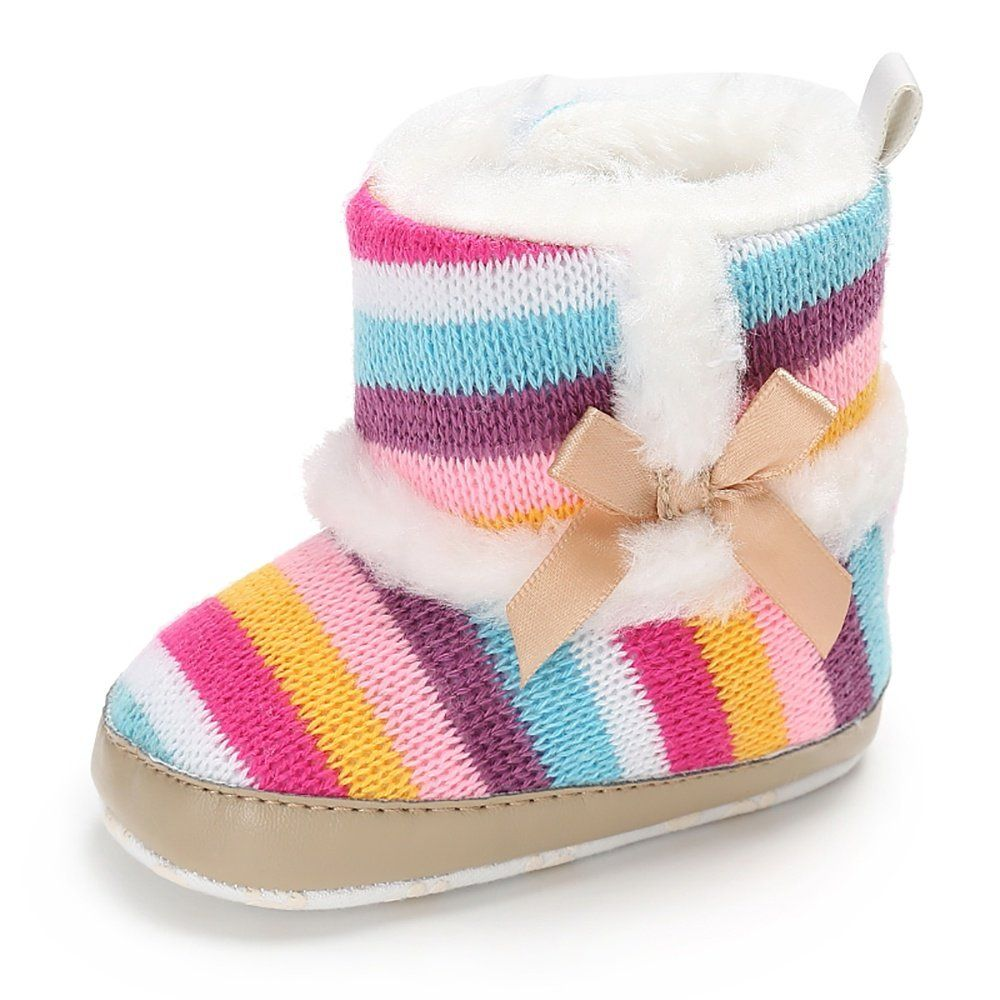 8297c76ff Baby Girl Prewalker Cotton Knit With Bowknot Warm Winter Infant ...