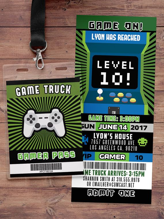 Video Game Invitation Game Truck Party Invitations Video Game - Birthday party invitation videos