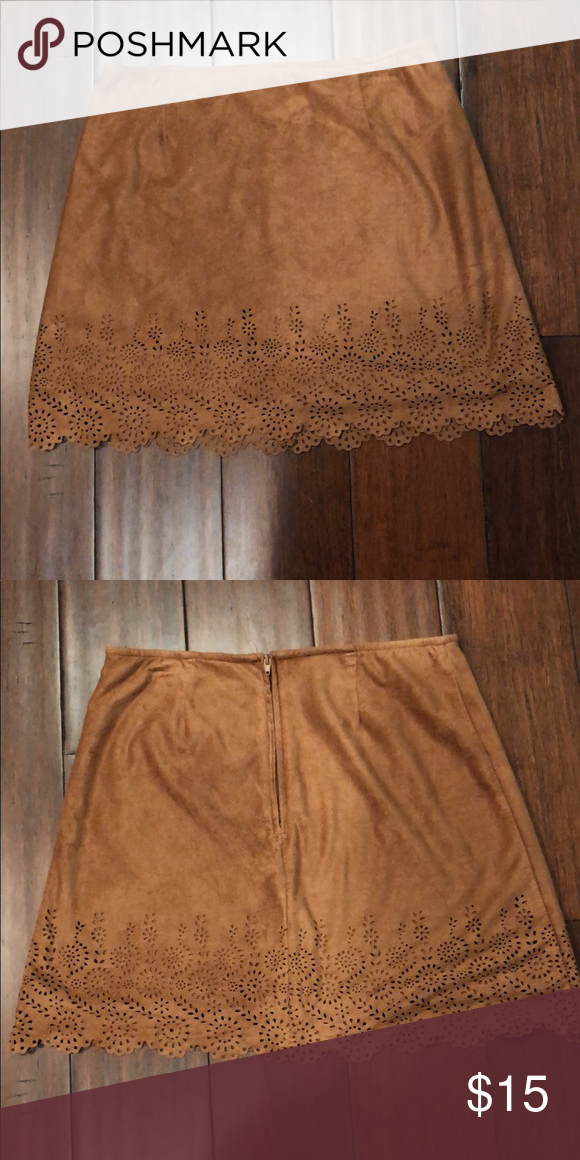 8400c2e116 Light brown suede mini skirt Only worn once It is a 16 (XL) from the kids  section Skirts Mini