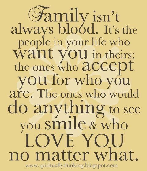 "True family ... so blessed to have been gifted with true family and friends all my life. It softens the pain of having to learn to ""let it be"" when some choose to be mean."