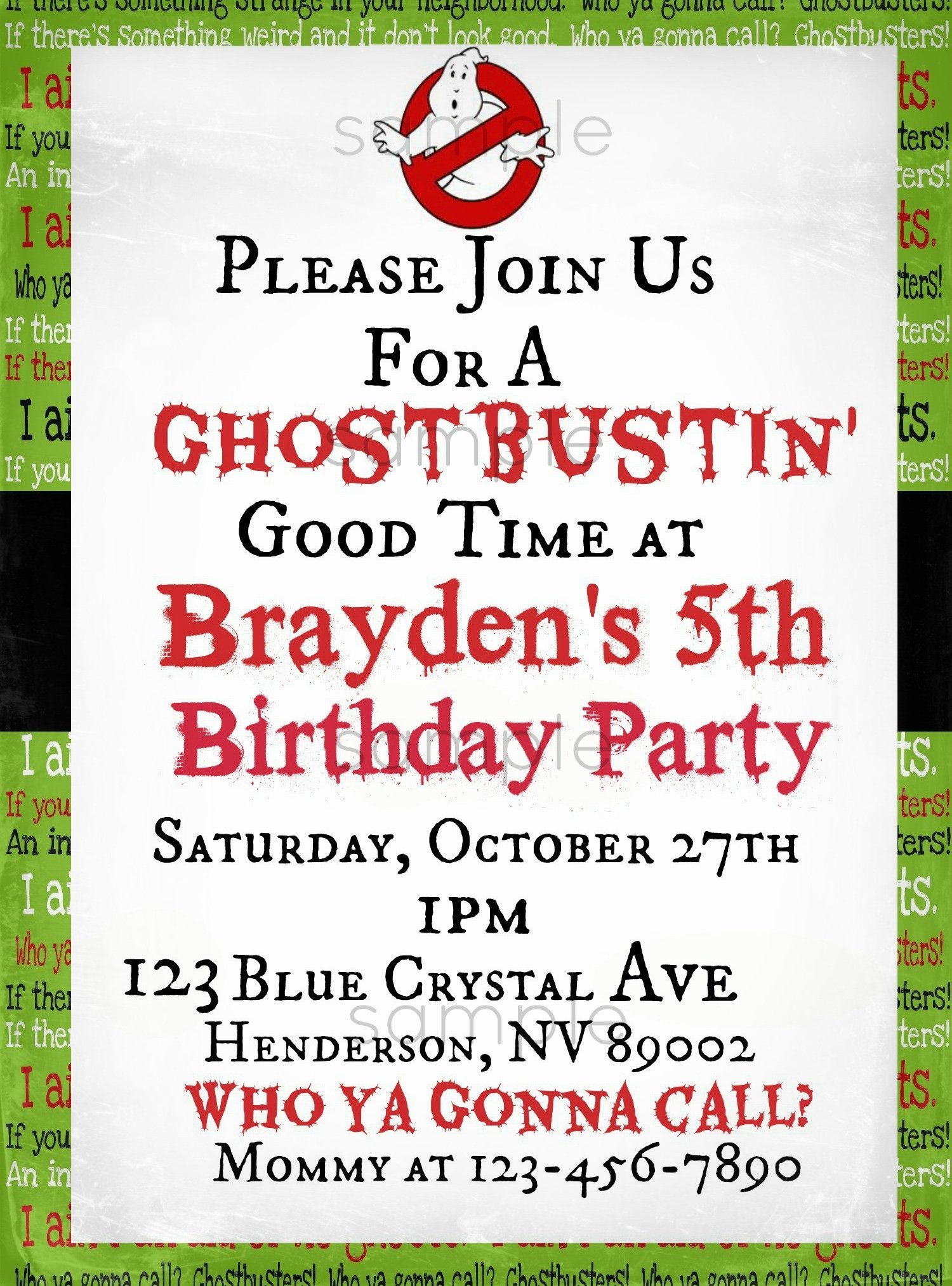 Ghostbusters Printable Invite by Boopteylu | Boopteylu | Birthday ...