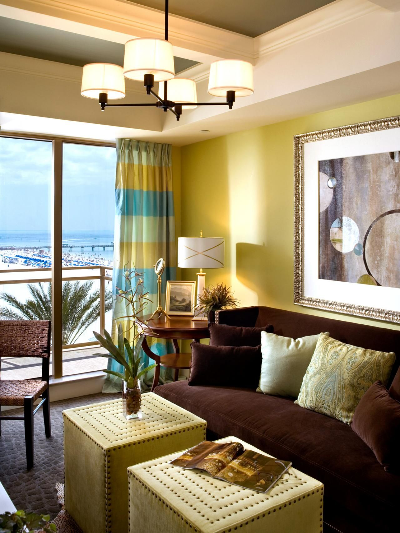 Inspired by the beachfront views, canary yellow walls and blue and ...
