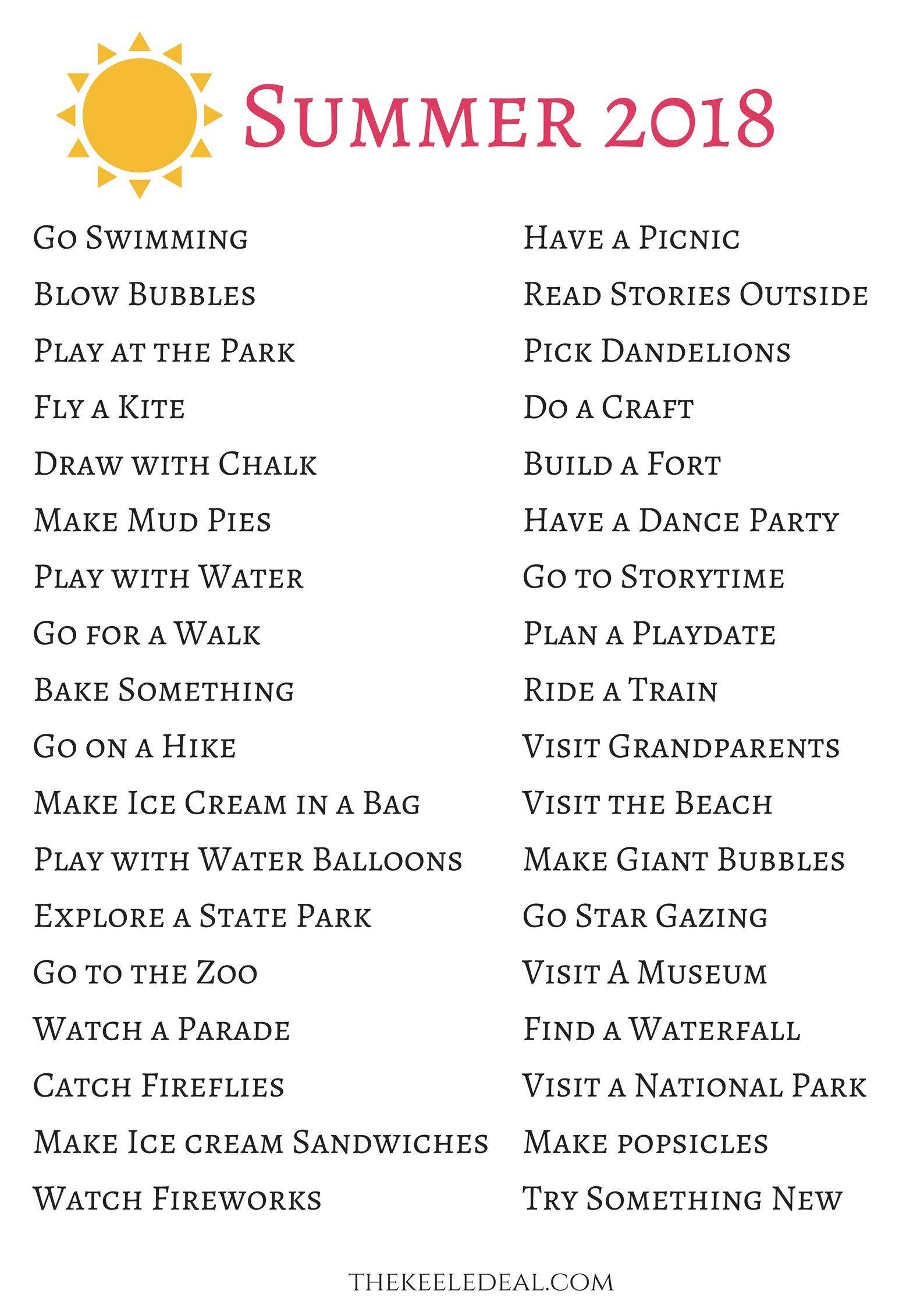 List Of Summer Activities For Preschoolers