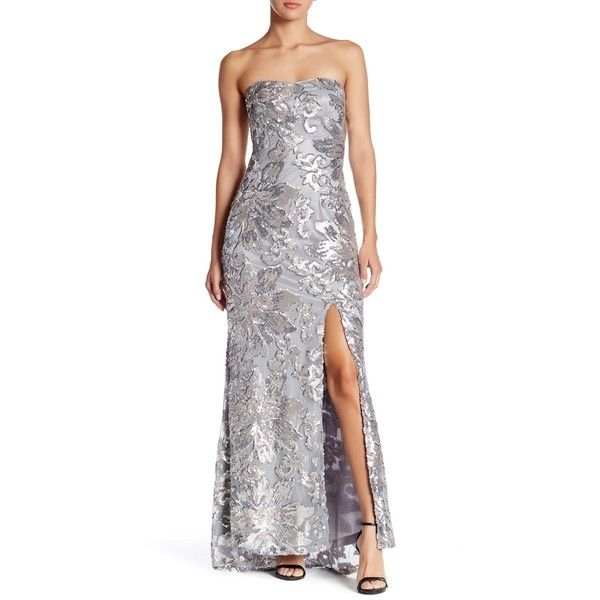Marina Strapless Sequined Gown ($100) ❤ liked on Polyvore featuring ...