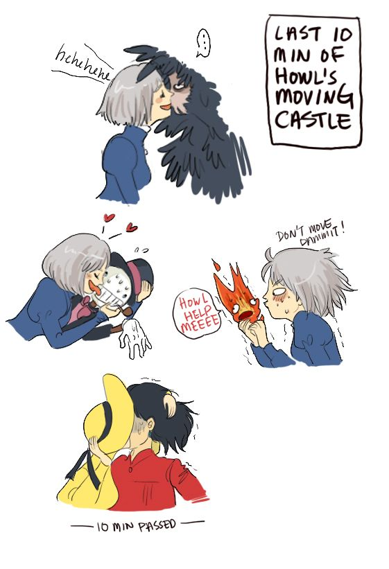 Last ten minutes of Howl's Moving Castle. This was way funnier than it should be.