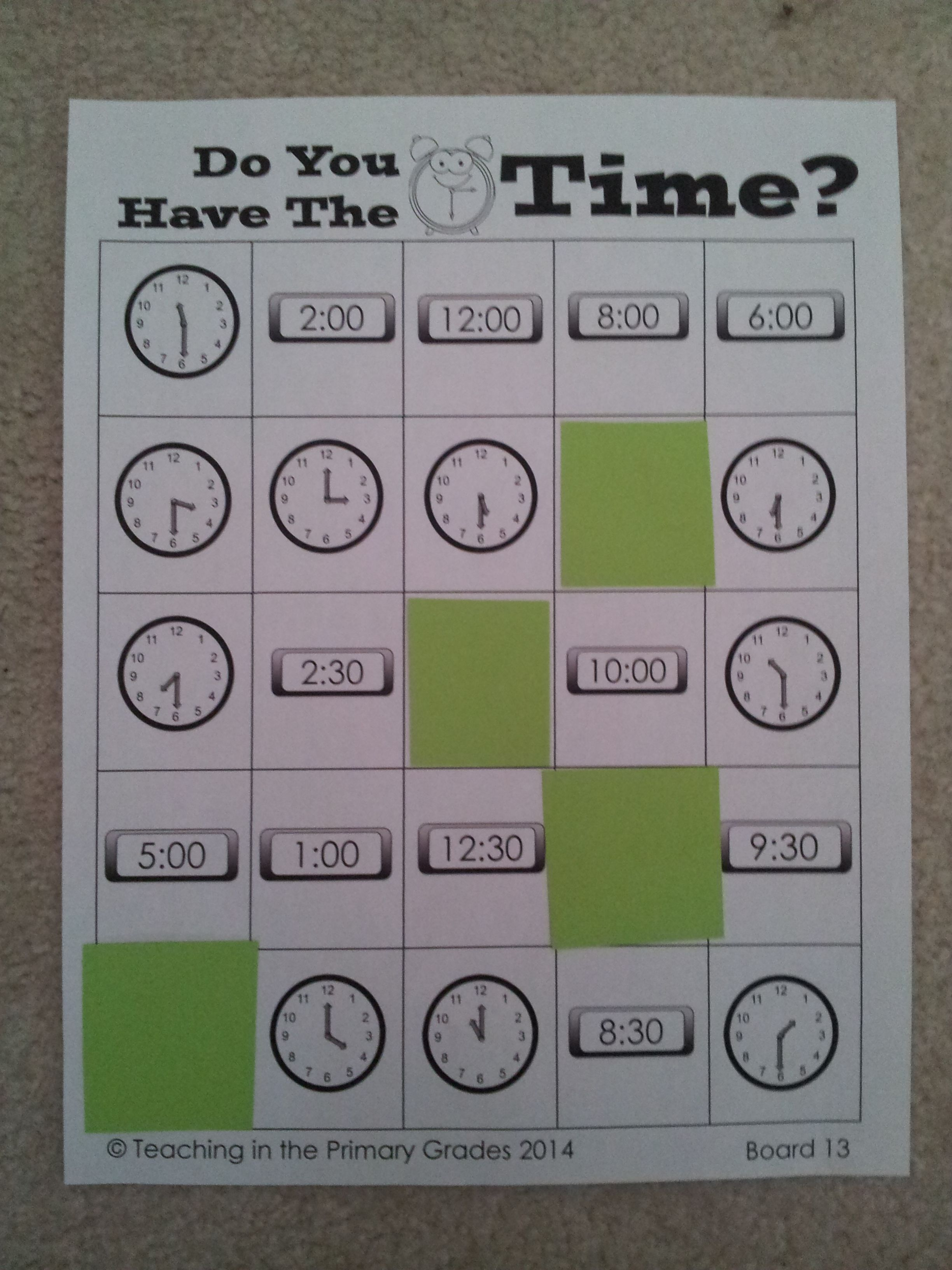 Common Core Aligned Telling Time Bingo Telling Time To The Hour And Half Hour Tellingtime