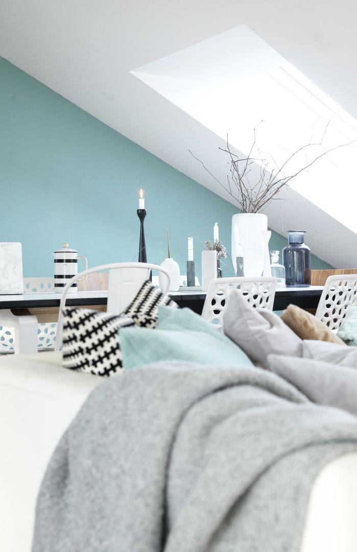 Skandinavisch weiß, schwarz und grau mit Farbe Grün blau Ideas - wohnzimmer farben braun grun