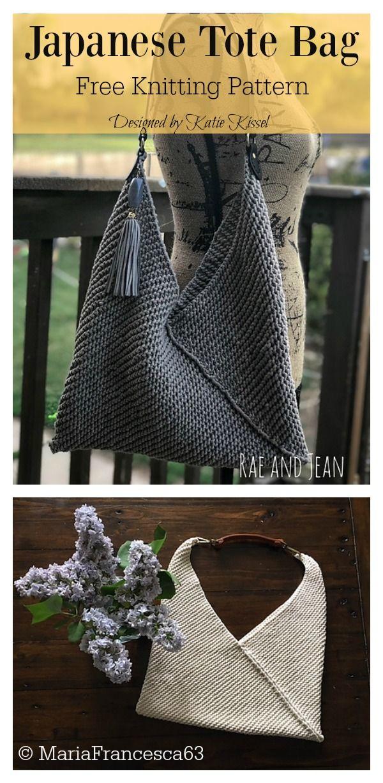 Japanese Tote Bag Free Knitting Pattern #knittingprojects