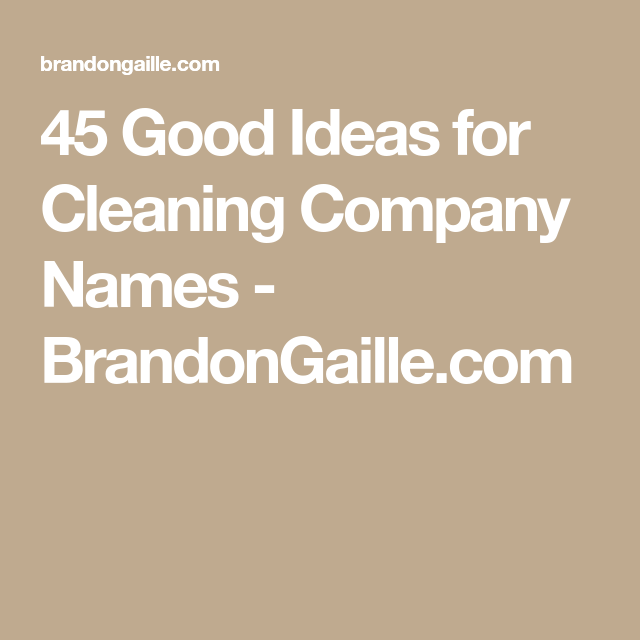 401 good ideas for cleaning company names