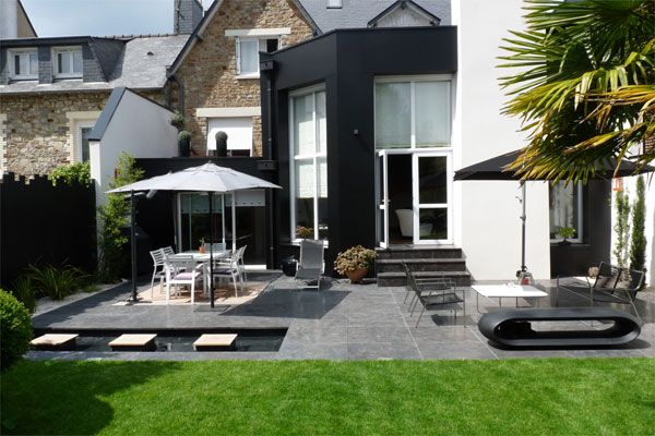 un jardin contemporain pur avec terrasses du paysagiste designer d ext rieur olivier deniel. Black Bedroom Furniture Sets. Home Design Ideas