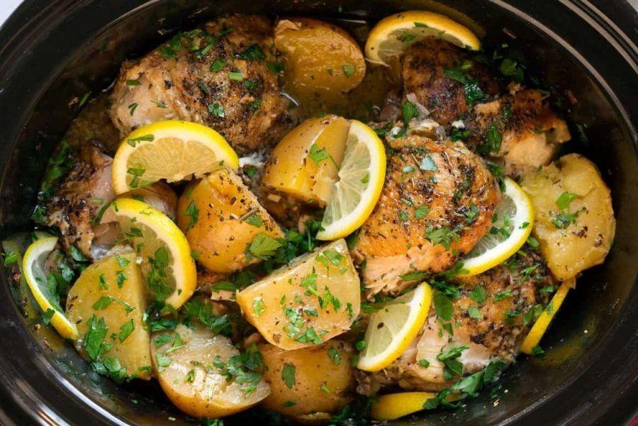 Pollo con papas y limón a cocción lenta