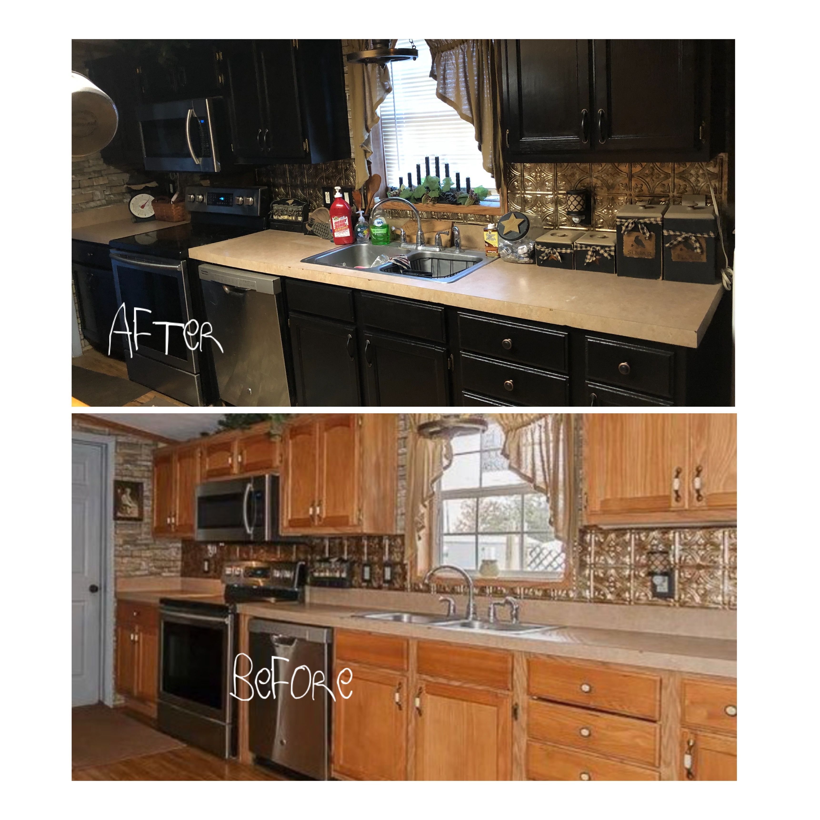 Before and after primitive kitchen painted black cabinets ...