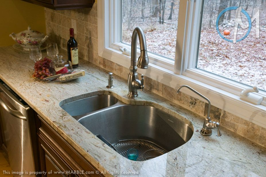 The Brushed Metal Faucet And Sink Combination Compliment Valley White Granite Perfectly