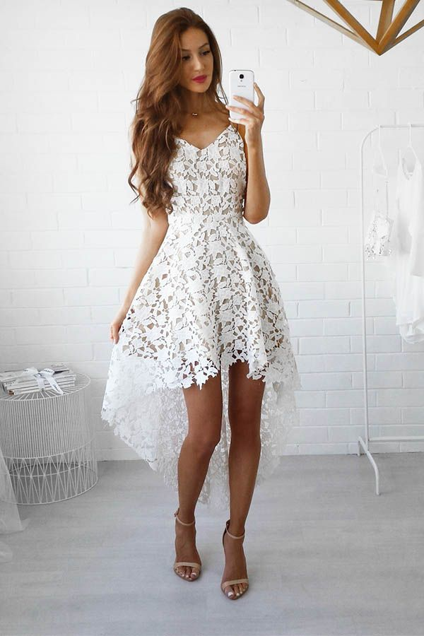 c326d5233db Hualong Strap V Neck Sleeveless White Lace Dress.It s flattering and fun  with lace and the sleeveless