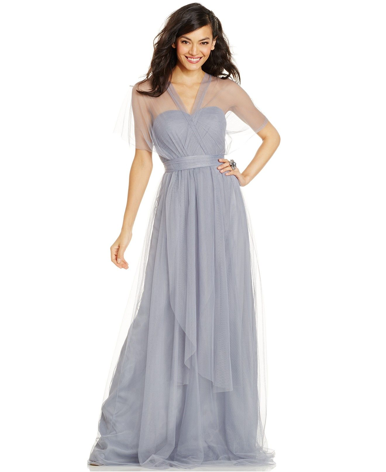 $230 Adrianna Papell Convertible Strapless Tulle Gown - Dresses ...