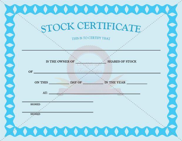 Stock Certificate Template | Stock Certificate Templates