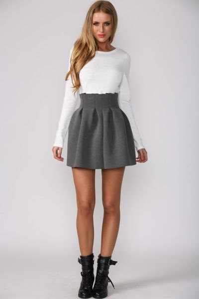 c55c9e7d50e64 Whipped Cream Top + skirt + those boots. Love.