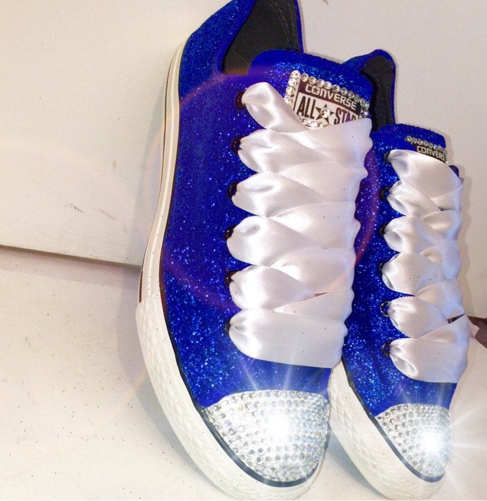 Womens Sparkly Royal Blue Glitter Crystals Converse All Star wedding bride  prom shoes 9cb364ae0255