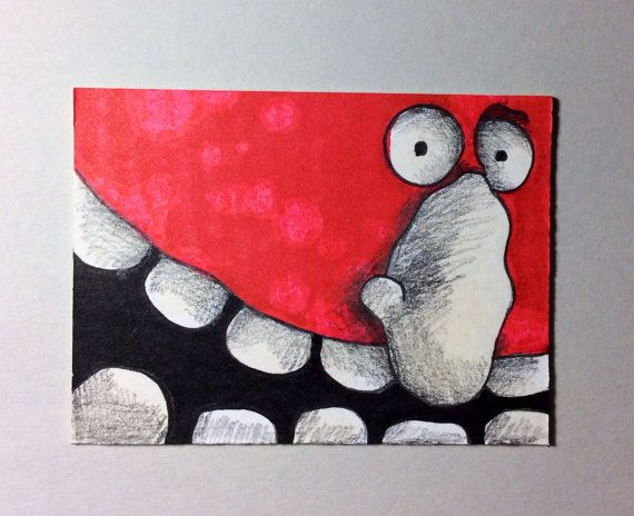 Red Monster ACEO by Aaron Butcher on Etsy, $5.00