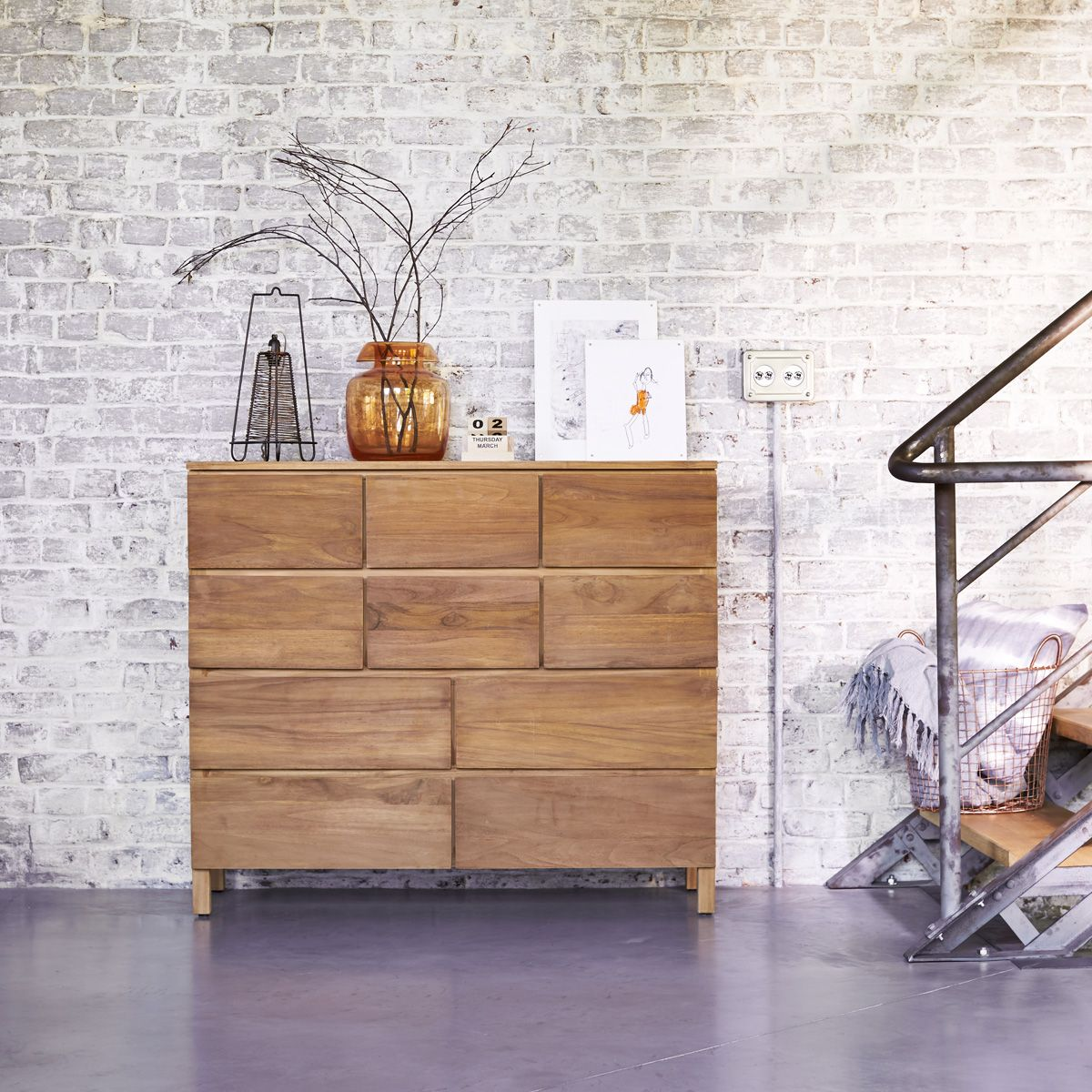 Solid Teak Wood Chest Of Drawers Sideboard Modern Design Bedroom