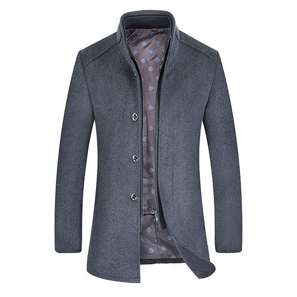 Detachable Lining Stand Collar Warm Business Wool Jacket