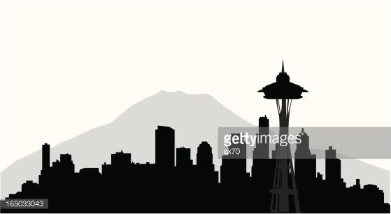 seattle skyline outline with mountain - Google Search