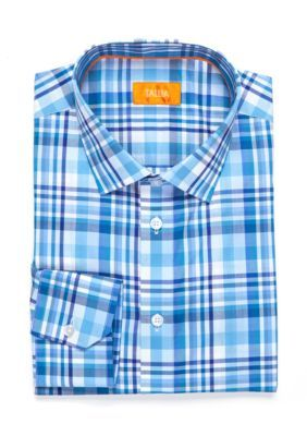 cb2824a6bd Tallia Orange Men s Slim-Fit Plaid Dress Shirt - Blue - 14.5 32 33