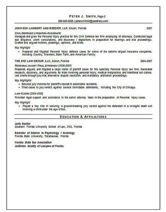 Trial Attorney Resume Example Resume examples, Sample resume and - associate attorney resume