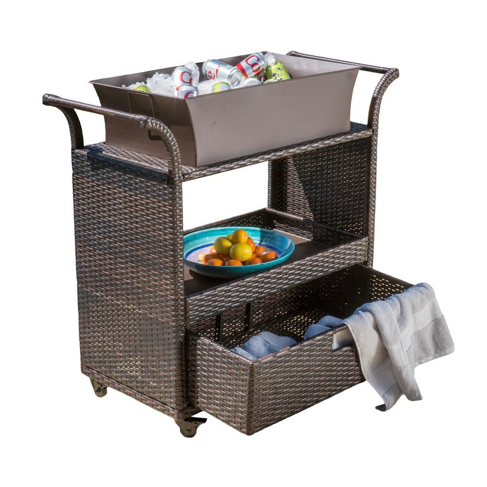 Keter Rattan Style 3 Drawer Cart.Noble House Kolten Multibrown Wicker Bar Cart With Ice Bucket And