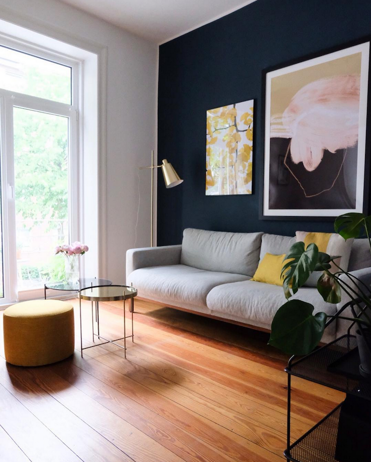 My Scandinavian Home: A Striking Blue Wall And Art In A