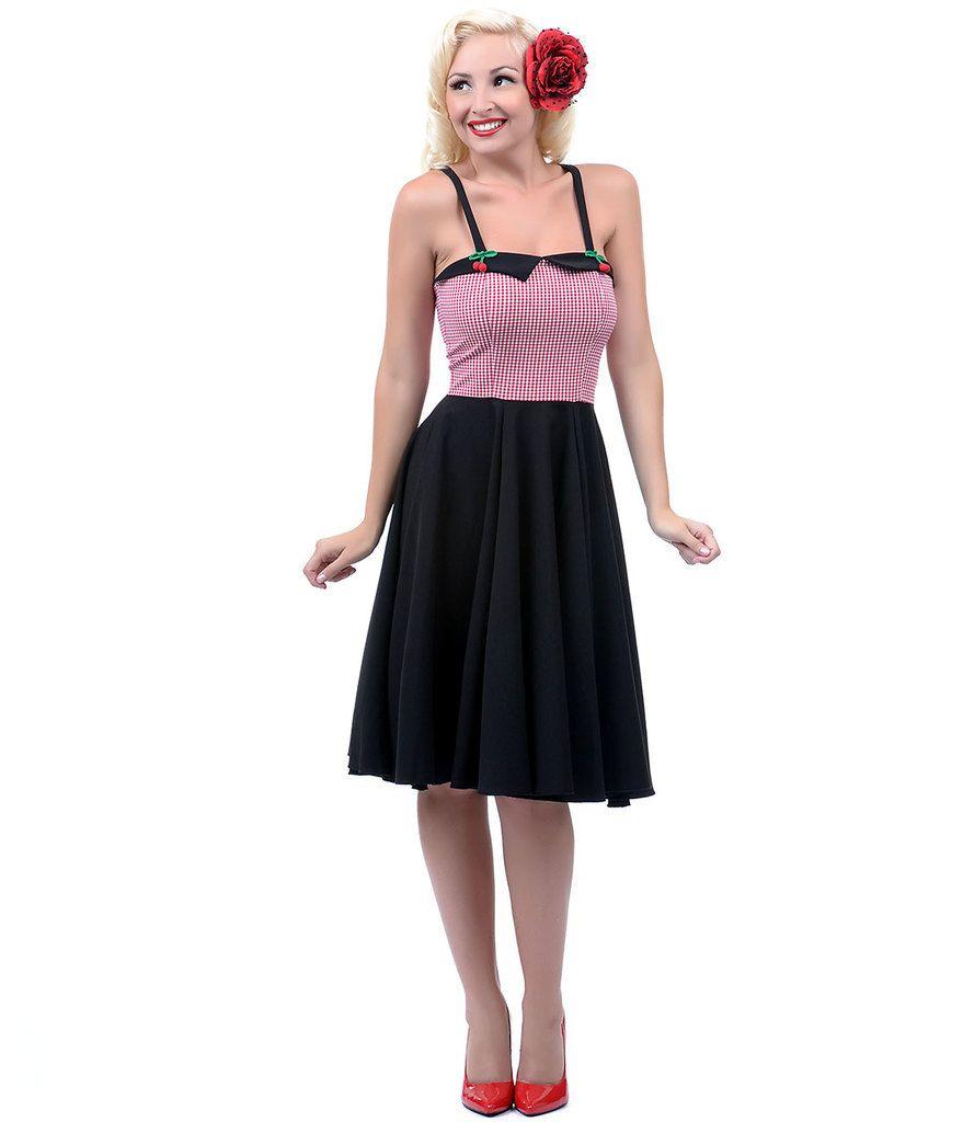 Red, White, & Black Cherry Swing Dress