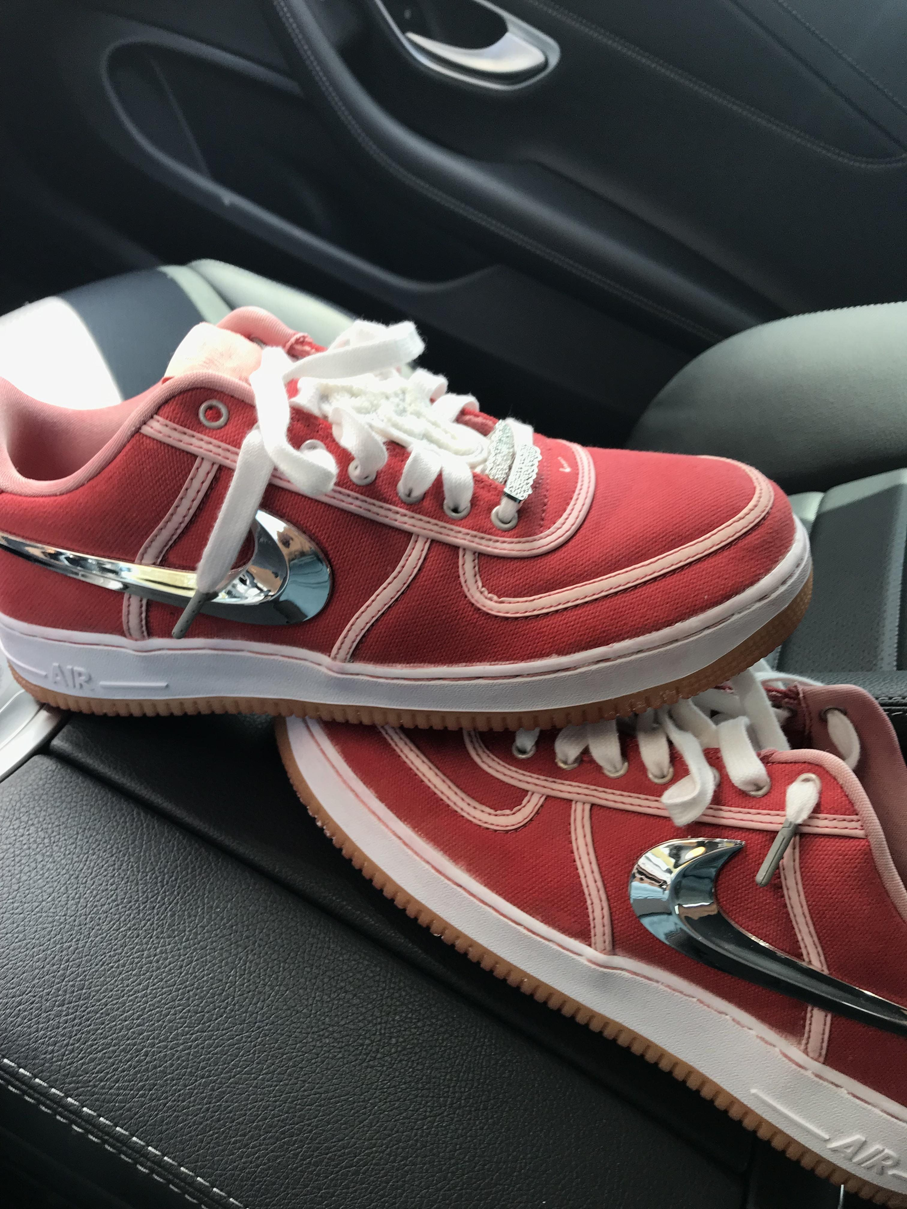 Dyed my Travis Scott Air Force 1's red Sneakers