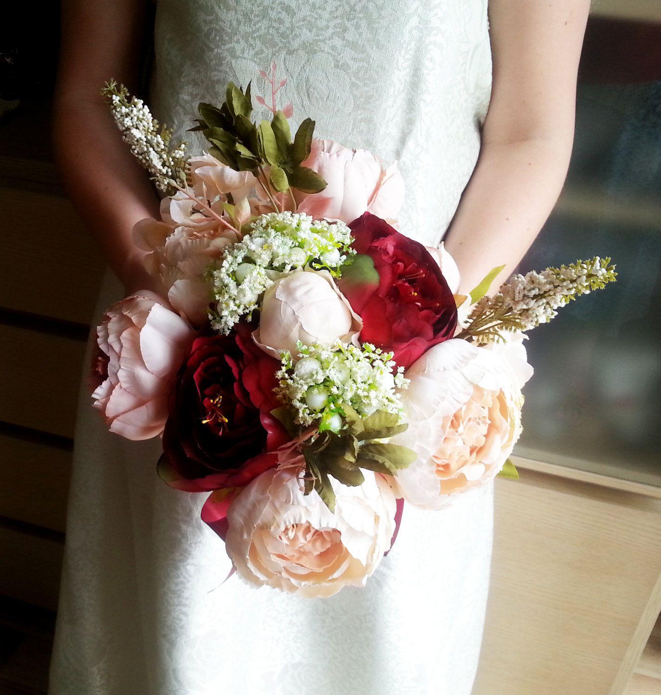 Silk And Satin Flowers Peonies Hydrangea Vintage Wedding Bouquet