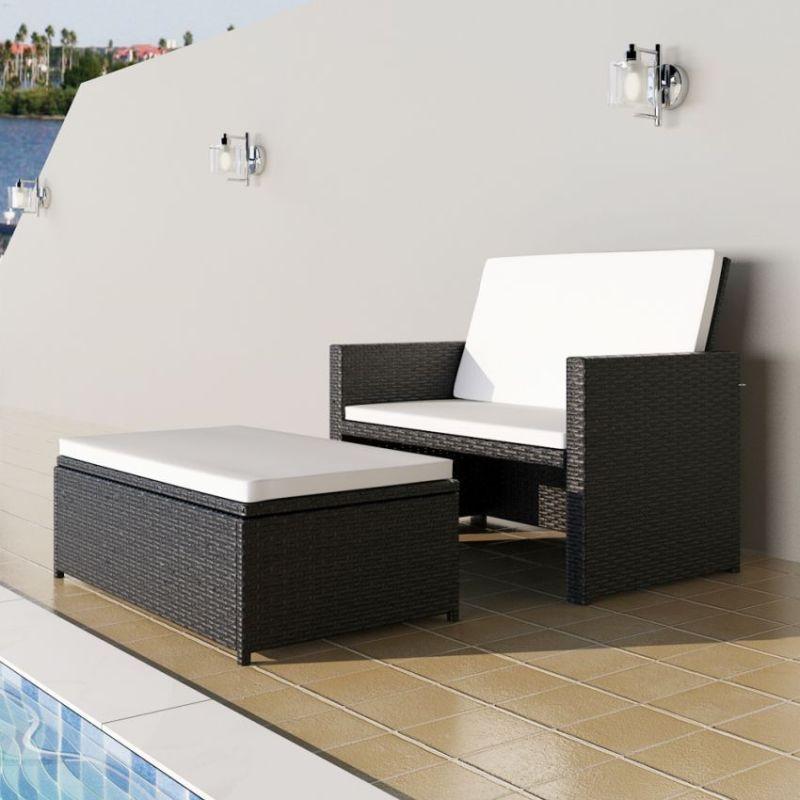 Outdoor PE Rattan Folding Sofa Bed Set in Black | Buy ...