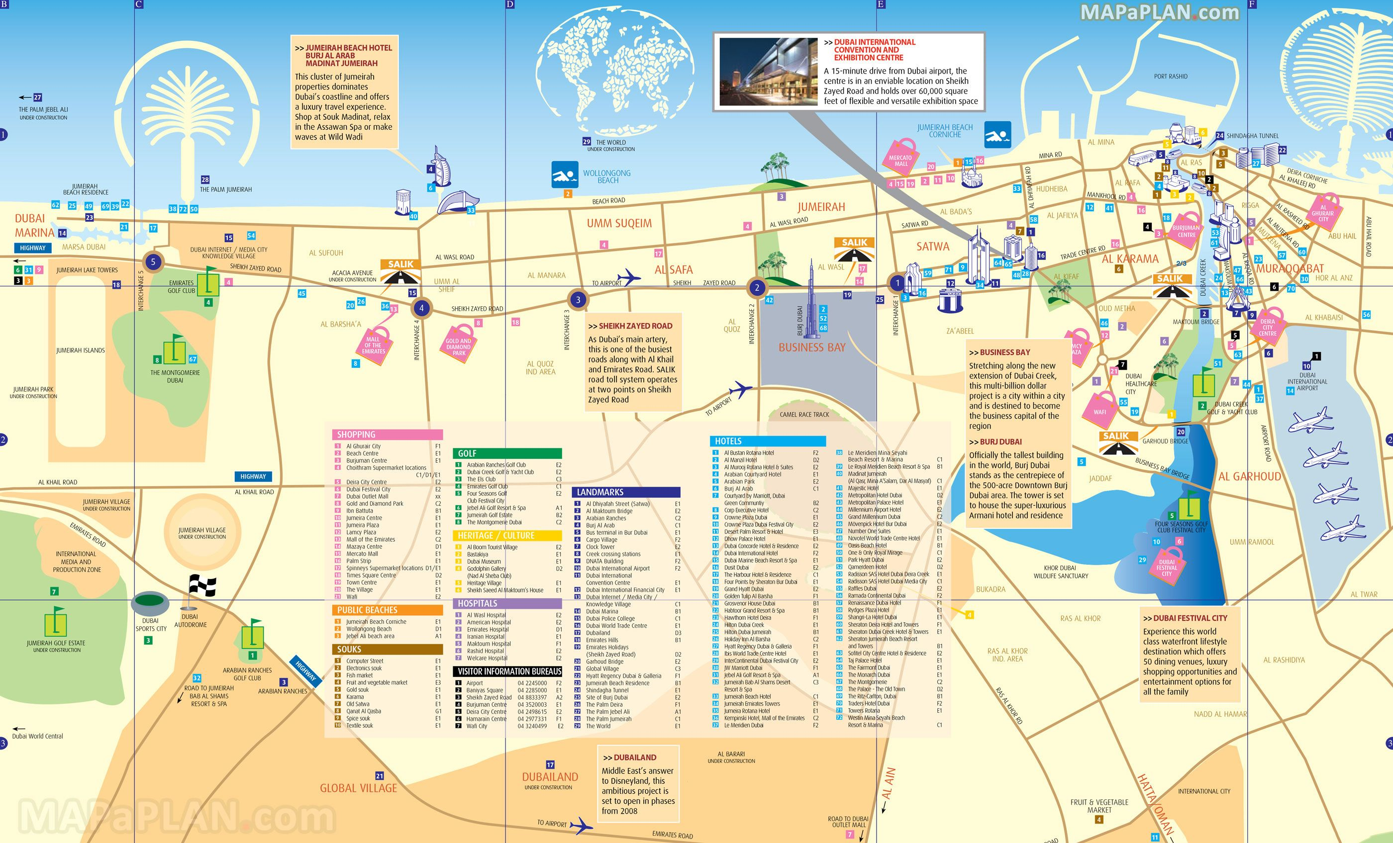 Tourist map of Dubai attractions, sightseeing, museums, sites ...