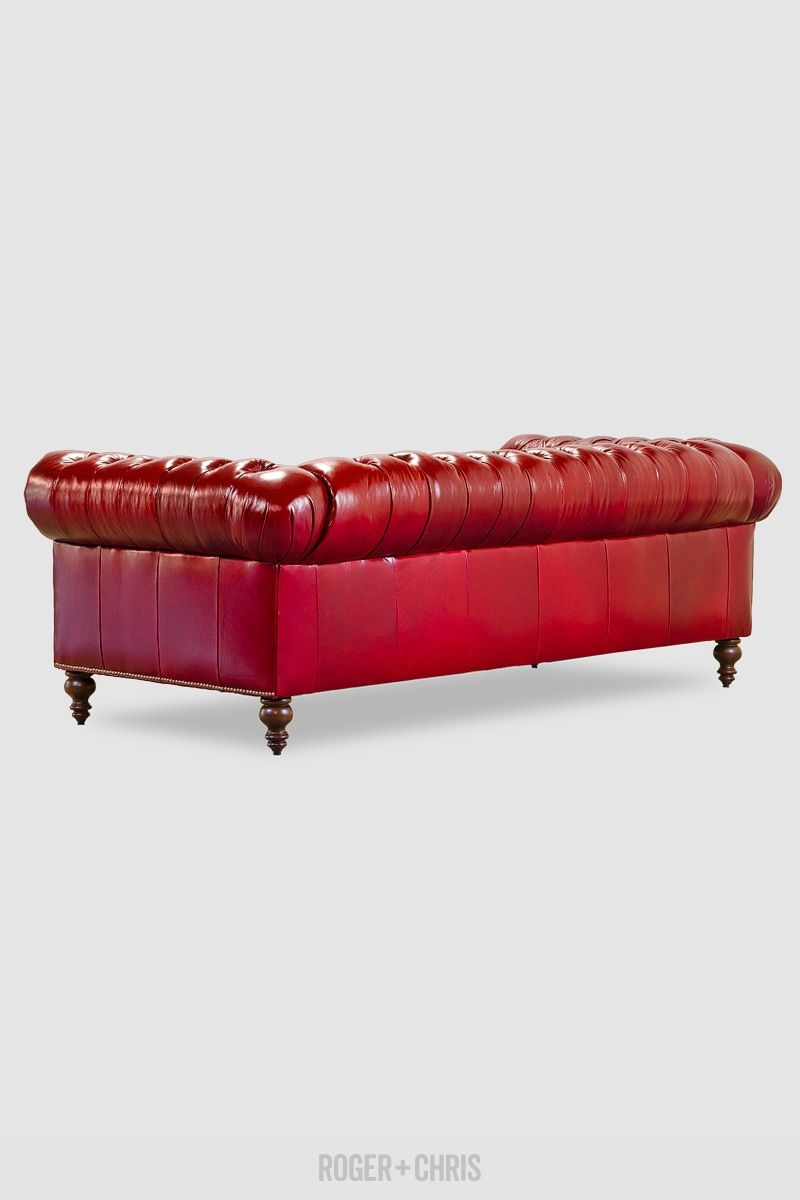 Chesterfield sofa in red leather Custom made in the U S A