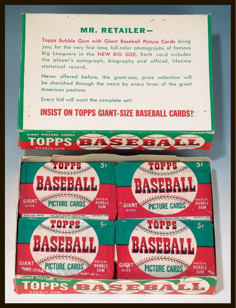 1952 Topps Baseball Five Cent Wax Box Complete With Unopened