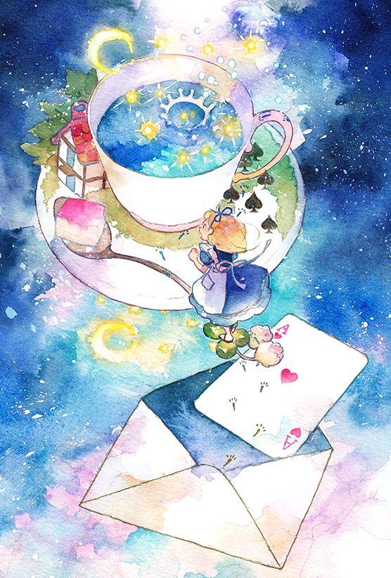 Alice In Wonderland Watercolor Painting Arte Em Aquarela