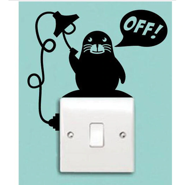 Creative Fashion Sea Division Turn Off Lights Vinyl Cartoon Switch Stickers A0021 Animal Wall Decals Light Switch Wall Painting