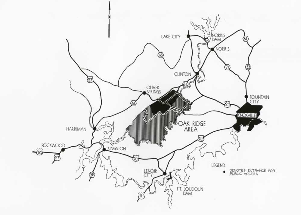 Map Of Oak Ridge And Surrounding Area 8 27 1945 2010 012 0217 Med 242 Oak Ridge Oak Ridge Tn Manhattan Project