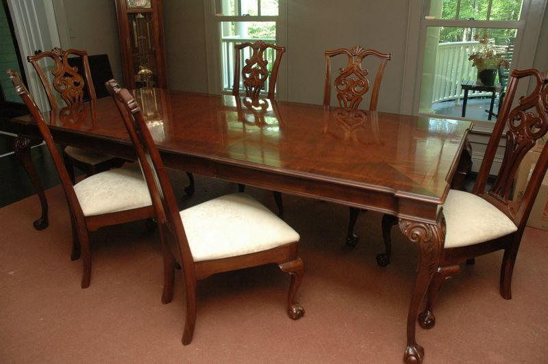 stunning dining room table with chair by century burled wood finish