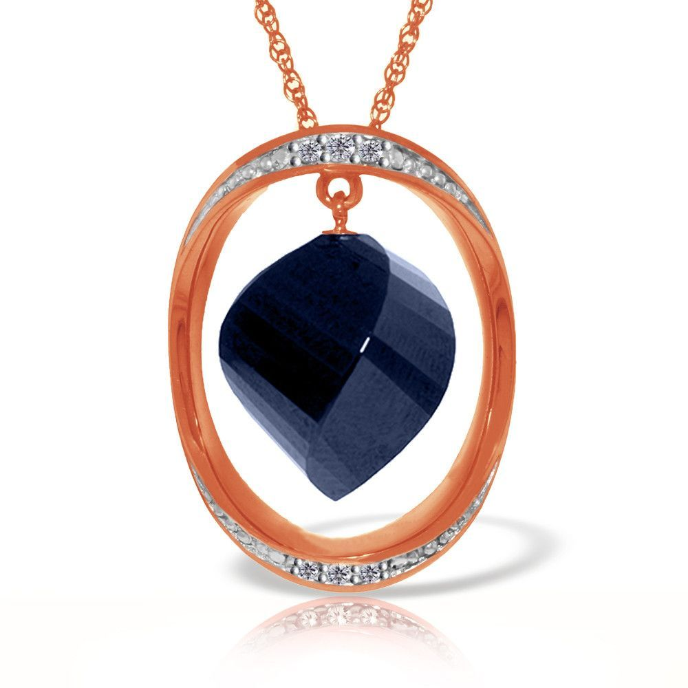 K solid rose gold necklace with twisted briolette dyed sapphire