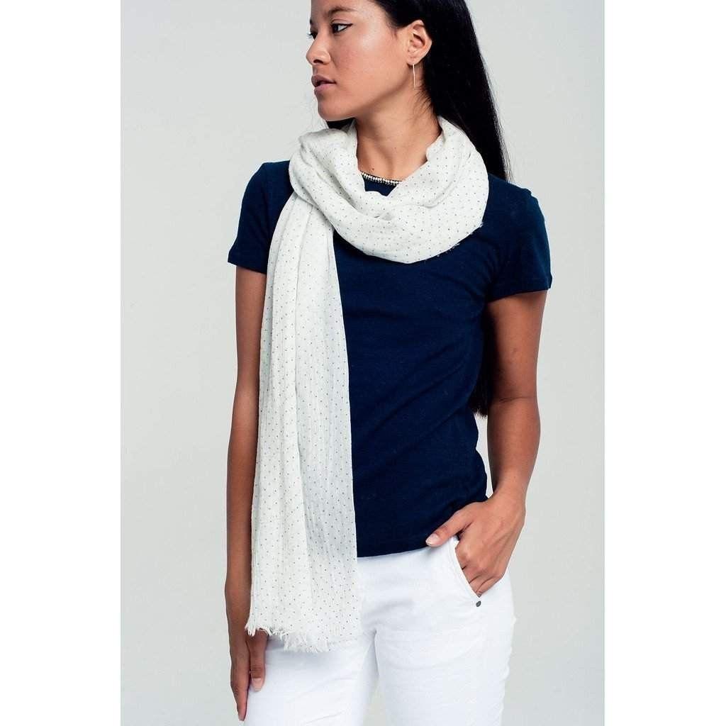 Lightweight polka dot scarf in white