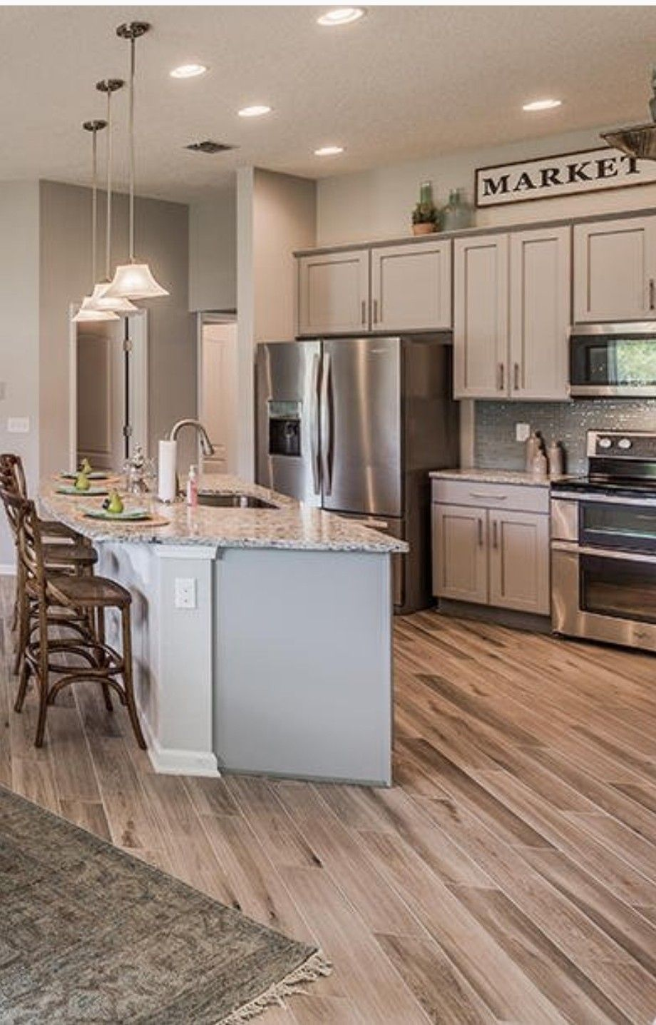 Norwood Oak Tile White Ice Granite Dr Horton Home Horton Homes Dr Horton Homes Kitchen Cabinets Height