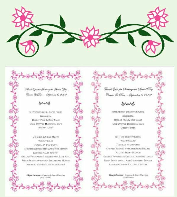 Floral border on a menu for a wedding reception, created from the - microsoft office borders templates